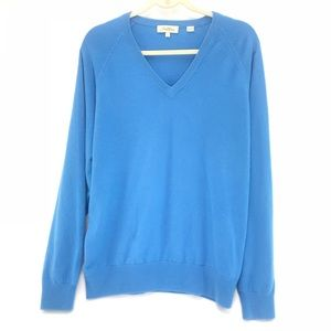 Peter Millar Cashmere Blue V-Neck Sweater Large